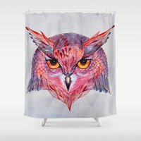 tool Shower Curtains featuring Owla owl by Ola Liola