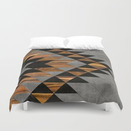 Urban Tribal Pattern 10 - Aztec - Concrete and Wood Duvet Cover