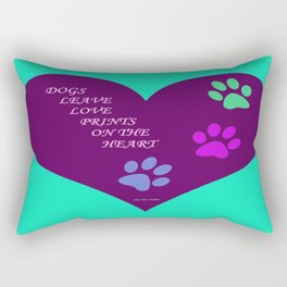 Dogs Leave Love Prints On The Heart By Annie Zeno  Rectangular Pillow