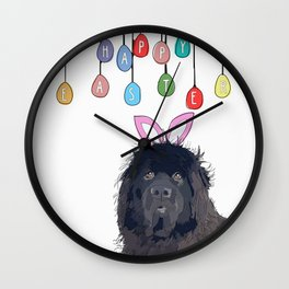 Happy Easter - Newfie Bunny Wall Clock