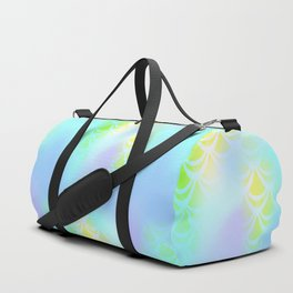 Blue Green and Yellow Mermaid Tail Abstraction. Magic Fish Scale Pattern Duffle Bag