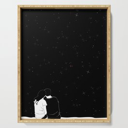 lovers watching the stars Serving Tray