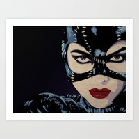 catwoman Art Prints featuring Catwoman by Cassidy Dawn