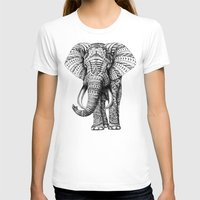 gray pattern T-shirts featuring Ornate Elephant by BIOWORKZ