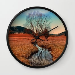 A stream, dry grass, reflections and trees | waterscape photography Wall Clock