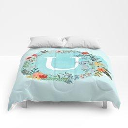 Personalized Monogram Initial Letter U Blue Watercolor Flower Wreath Artwork Comforters
