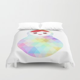 Russian doll matryoshka with bright rhombus on white background, rainbow pastel colors Duvet Cover
