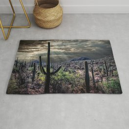 Saguaro Cactuses with Sunbeams Rug