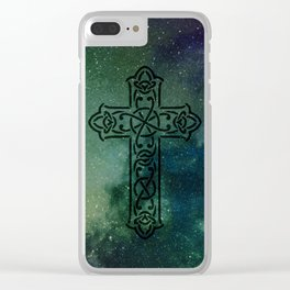 Celtic cross v.3 Clear iPhone Case