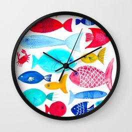 Fish Pattern - Ocean - Nautical - Sea - Swim - Crabs - Summer Wall Clock