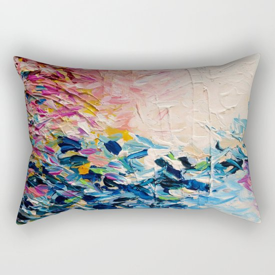 PARADISE DREAMING Colorful Pastel Abstract Art Painting Textural Pink Blue Tropical Brushstrokes Rectangular Pillow