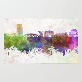 Ljubljana skyline in watercolor background Rug