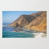 big sur Area & Throw Rugs featuring Big Sur Blue by Jenndalyn