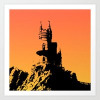 castle in the sky Art Prints featuring Castle by Julia Badeeva