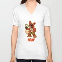 fnaf V-neck T-shirts featuring Foxy Plush by Silvering