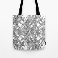 blueprint Tote Bags featuring Blueprint - monochrome by Etch by Design