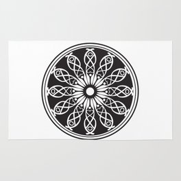 White flower mandala Rug