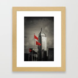 Red flags Tower Framed Art Print
