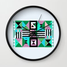 Blue Triangulation Wall Clock