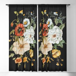 Wildflower Bouquet on Charcoal Blackout Curtain