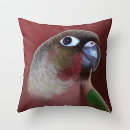 Yellow - Sided Green Cheek Conure Parakeet Throw Pillow