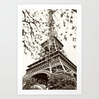 eiffel tower Art Prints featuring Eiffel Tower by Linde Townsend