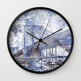 Brooklyn Bridge New York USA Watercolor blue Illustration Wall Clock
