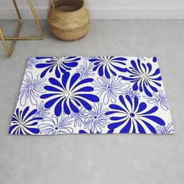 Swirly Flower Blue and White Graphic Design Floral Art by Megan Duncanson MADART Rug