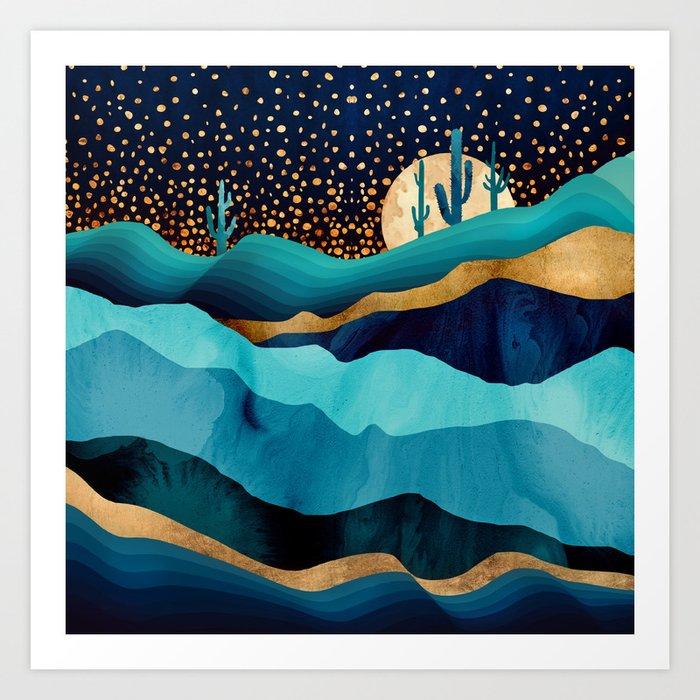 Indigo Desert Night Art Print