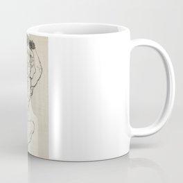 Squatting Woman, Naked lady female line art by Egon Schiele. Coffee Mug