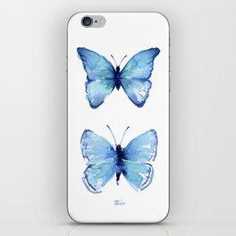 Two Blue Butterflies Watercolor iPhone Skin