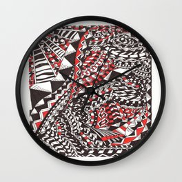 Black Red and White  Wall Clock
