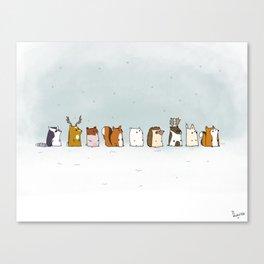 Winter forest animals Canvas Print