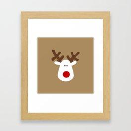 Christmas Reindeer-Brown Framed Art Print