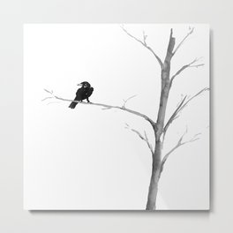 Raven in a Tree Metal Print