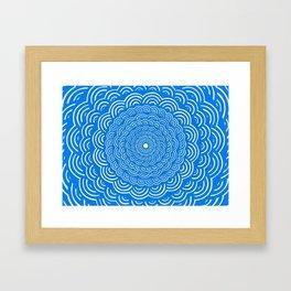 Spiral Mandala (Cobalt Blue) Curve Round Rainbow Pattern Unique Minimalistic Vintage Zentangle Framed Art Print