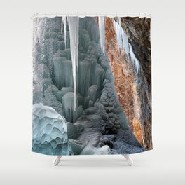 Behind Spouting Rock  Frozen Waterfall - Hanging Lake - Glenwood Canyon Colorado Shower Curtain