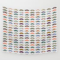 dear Wall Tapestries featuring Mustache Mania by Bianca Green