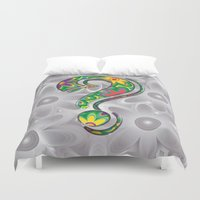 psychadelic Duvet Covers featuring Bold question mark by Wendy Townrow