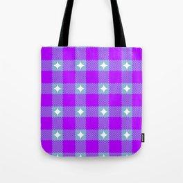 Starry Blurple Plaid Tote Bag