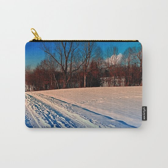 Traces on a winter hiking trail Carry-All Pouch