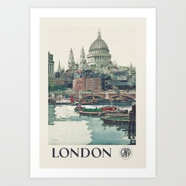 London travel poster - St Paul's Cathedral by Frank Henry Mason Art Print
