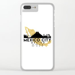 MEXICO CITY MEXICO SILHOUETTE SKYLINE MAP ART Clear iPhone Case
