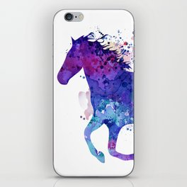 Running Horse Watercolor Silhouette iPhone Skin