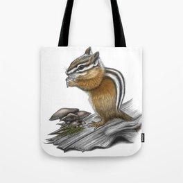 Chipmunk and mushrooms Tote Bag