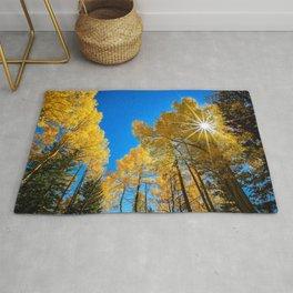 THE AUTUMN SUN COLORADO ASPEN TREE FALL LANDSCAPE  Rug
