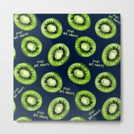 Kiwi Go Again Funny Kiwi Fruit Pun Pattern (navy blue) Metal Print