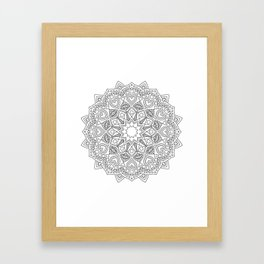 White and black mandala with hearts Framed Art Print