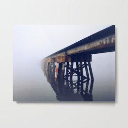 Train Bridge in the Fog-I Metal Print