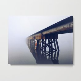 Train Bridge in the Fog-I Metal Print